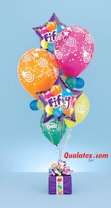 Geburtstagsgeschenk aus bunten Ballons zum 50. Geburtstag